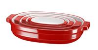 Набор керамических форм для запекания, овальные 4 шт. красный KBLR04NSER